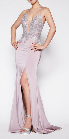 Cinderella Divine ML927 Floor Length Fitted Satin Crepe Gown Mauve/Silver Deep Plunge Necklin