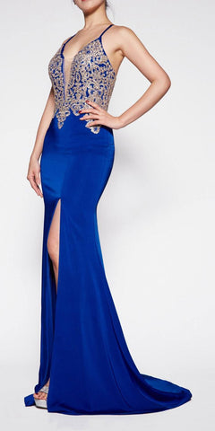 Cinderella Divine ML927 Floor Length Fitted Satin Crepe Gown Royal Blue Deep Plunge Necklin