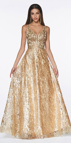 Cinderella Divine ML929 Floor Length A-Line Glitter Ball Gown Gold Floral Print Open Back