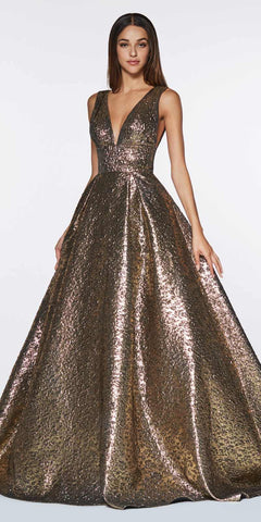 Cinderella Divine ML930 Metallic Brocade Ball Copper Gown With Deep V-Neckline