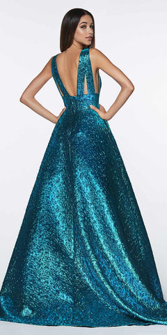 Cinderella Divine ML930 Metallic Brocade Ball Teal Gown With Deep V-Neckline