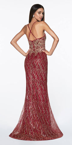 Cinderella Divine ML934 Floor Length Fitted Glitter Prom Gown Burgundy