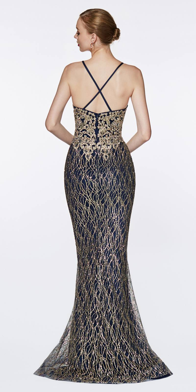 4e1a950a6250 ... Cinderella Divine ML934 Floor Length Fitted Glitter Prom Gown Navy Blue