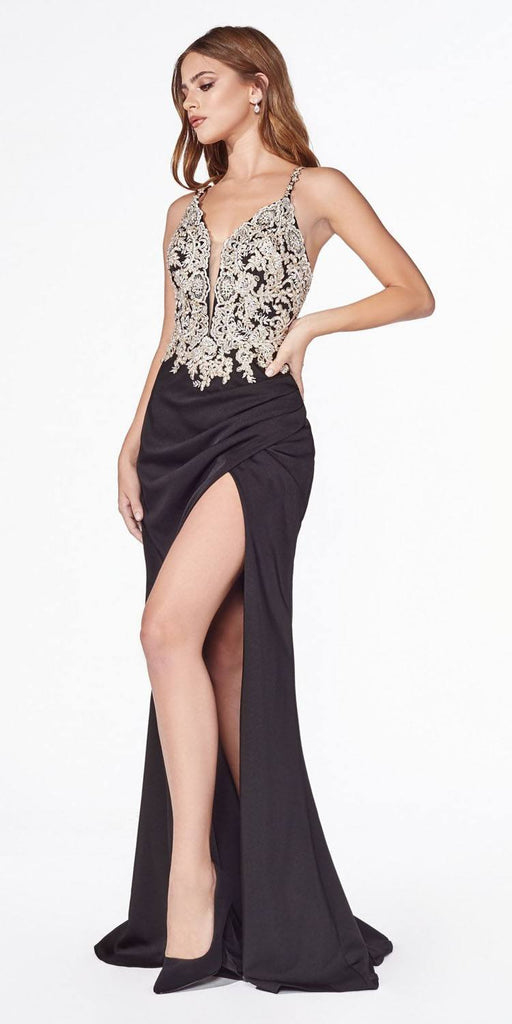 Black Appliqued Long Prom Dress Criss-Cross Back