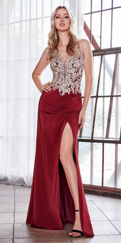 Burgundy Appliqued Long Prom Dress Criss-Cross Back