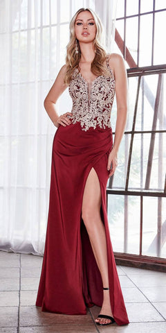 Mermaid Style Red Long Formal Dress Cut-Out Neckline