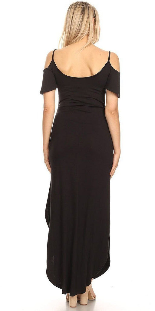 Maternity Maxi Dress Black Cold Shoulder Side Pockets