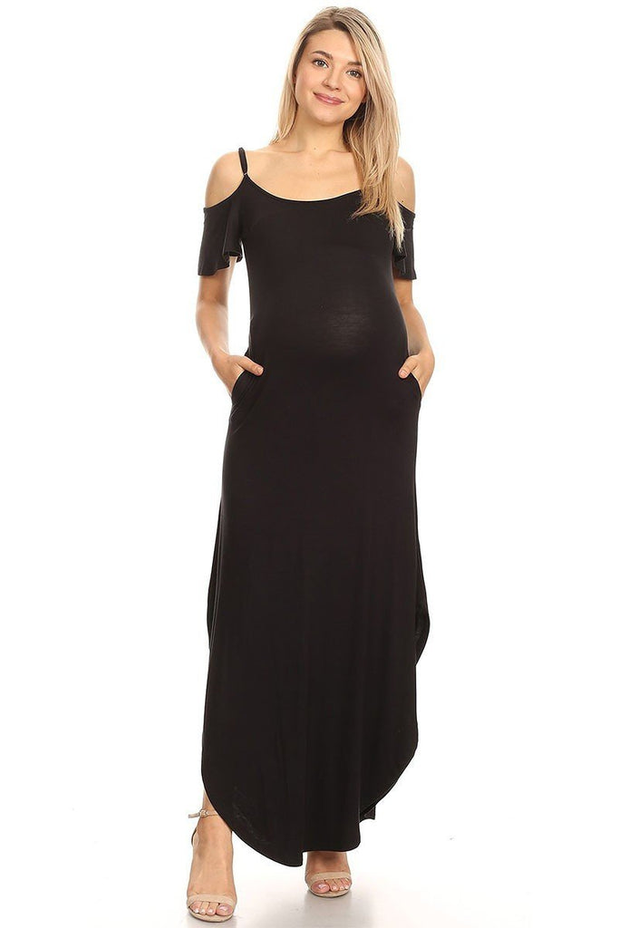 Plus Size Maternity Maxi Dress Black Cold Shoulder Side Pockets