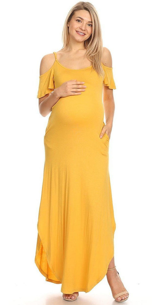 Maternity Maxi Dress Mustard Cold Shoulder Side Pockets