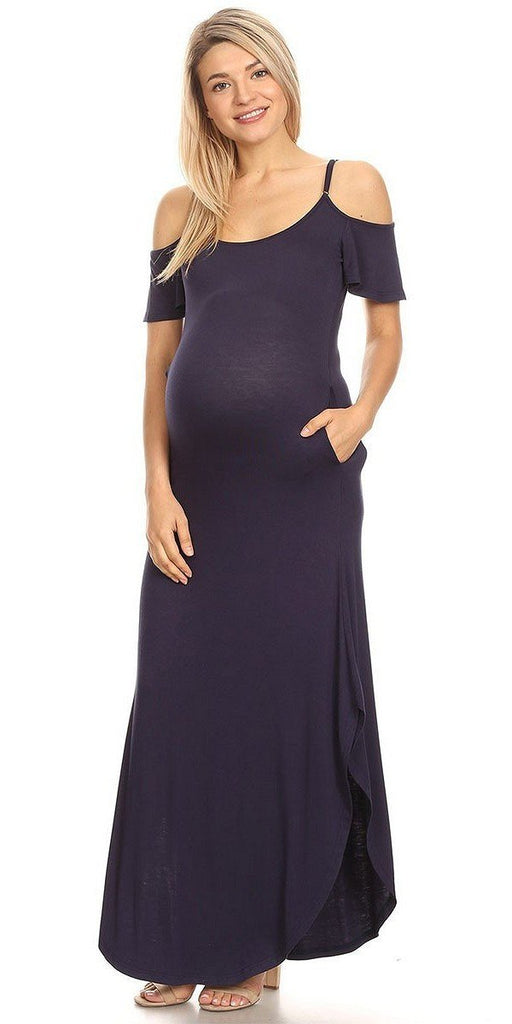 Maternity Maxi Dress Navy Blue Cold Shoulder Side Pockets