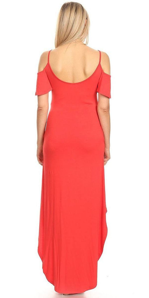 Maternity Maxi Dress Red Cold Shoulder Side Pockets