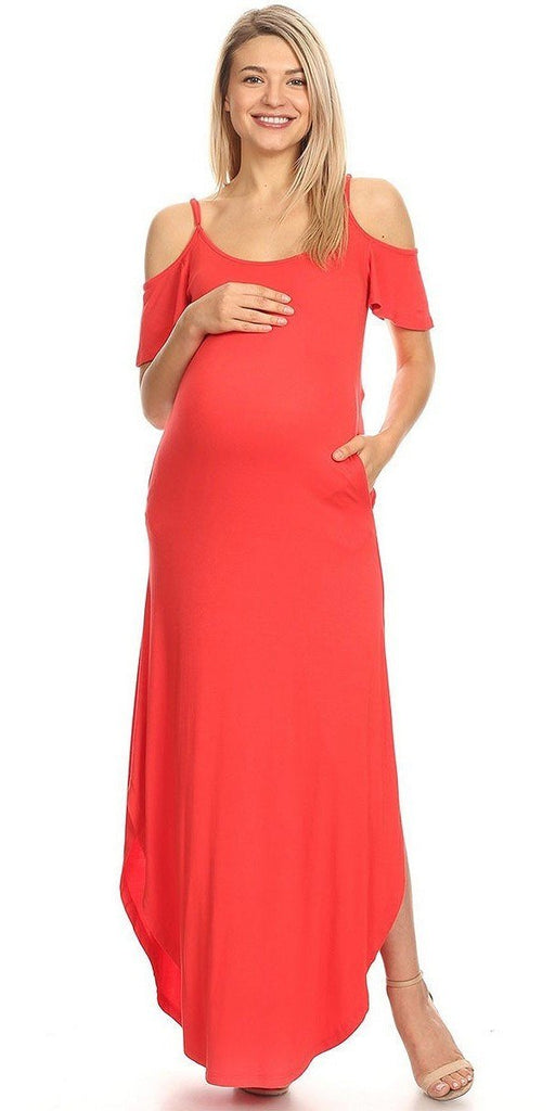 Plus Size Maternity Maxi Dress Red Cold Shoulder Side Pockets