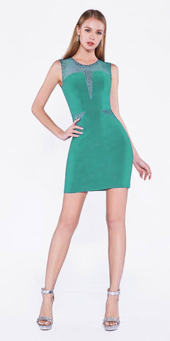 Cinderella Divine N101S Fitted Cocktail Dress Mint Illusion Neckline And Rhinestone Details