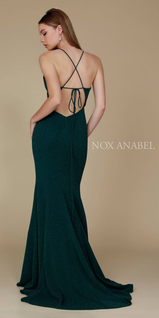 Nox Anabel N160 Green Full Length Formal Gown V Neckline Back View