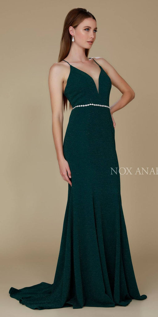 Nox Anabel N160 Green Full Length Formal Gown V Neckline
