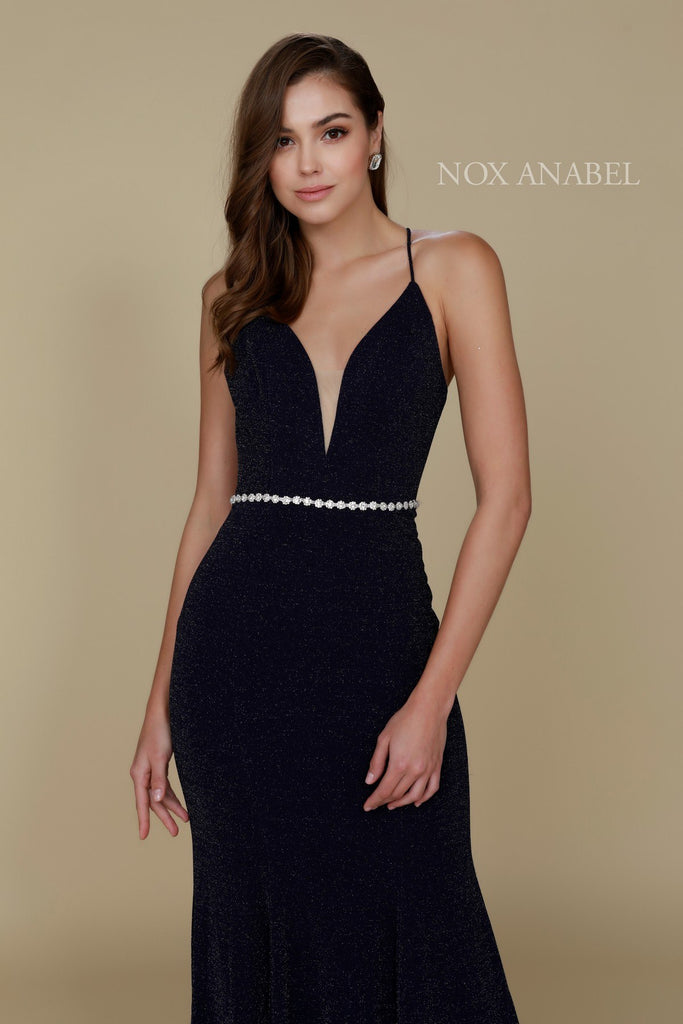 Nox Anabel N160 Navy Blue Full Length Formal Gown V Neckline