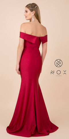 Dark Red Off-Shoulder Mermaid Long Prom Dress