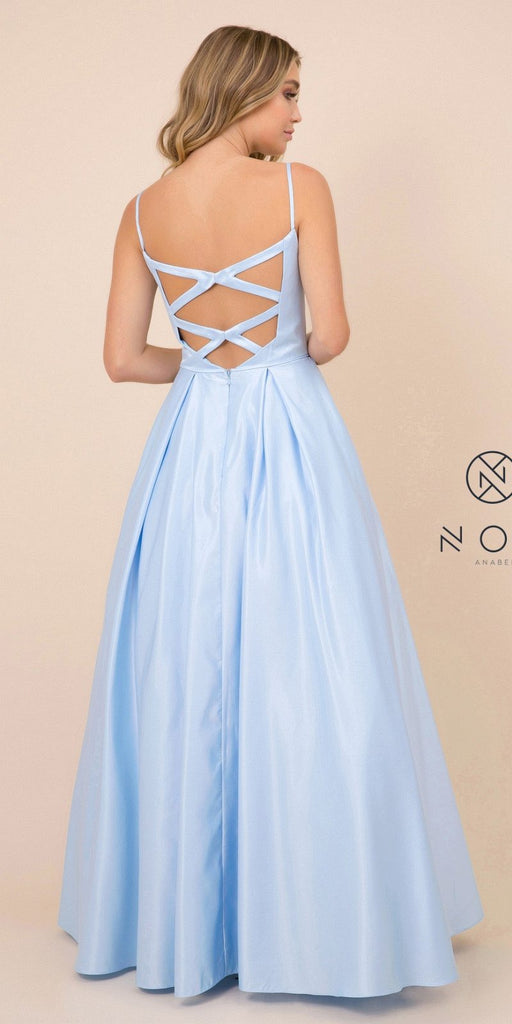 Cut-Out Back Long Prom Dress with Pockets Blue