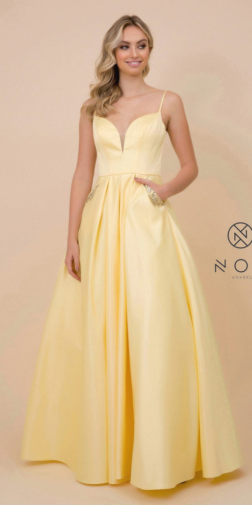 Cut-Out Back Long Prom Dress with Pockets Lemon