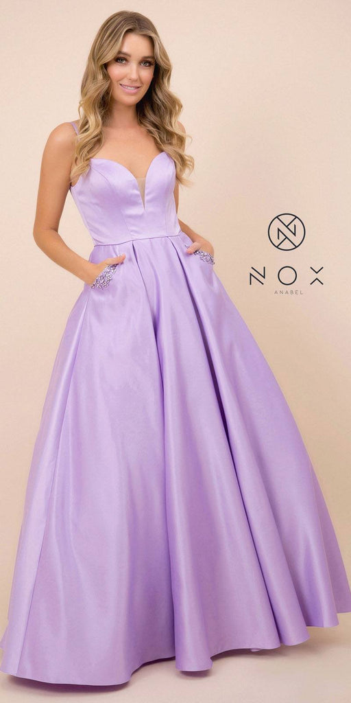 Cut-Out Back Long Prom Dress with Pockets Lilac