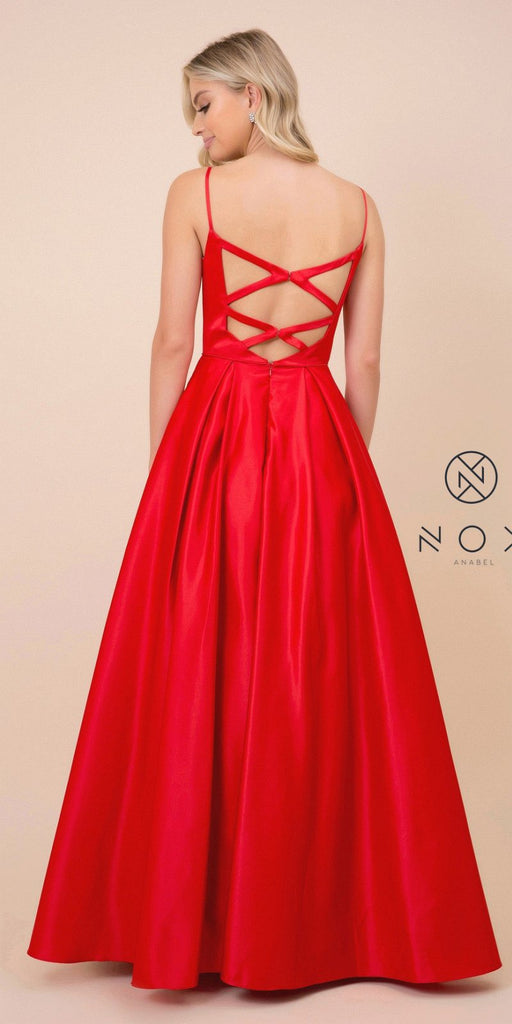 Cut-Out Back Long Prom Dress with Pockets Red