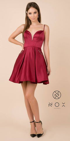 Burgundy Homecoming Short Dress with Beaded Pockets