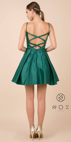 Green Homecoming Short Dress with Beaded Pockets