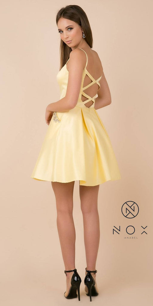 Lemon Homecoming Short Dress with Beaded Pockets