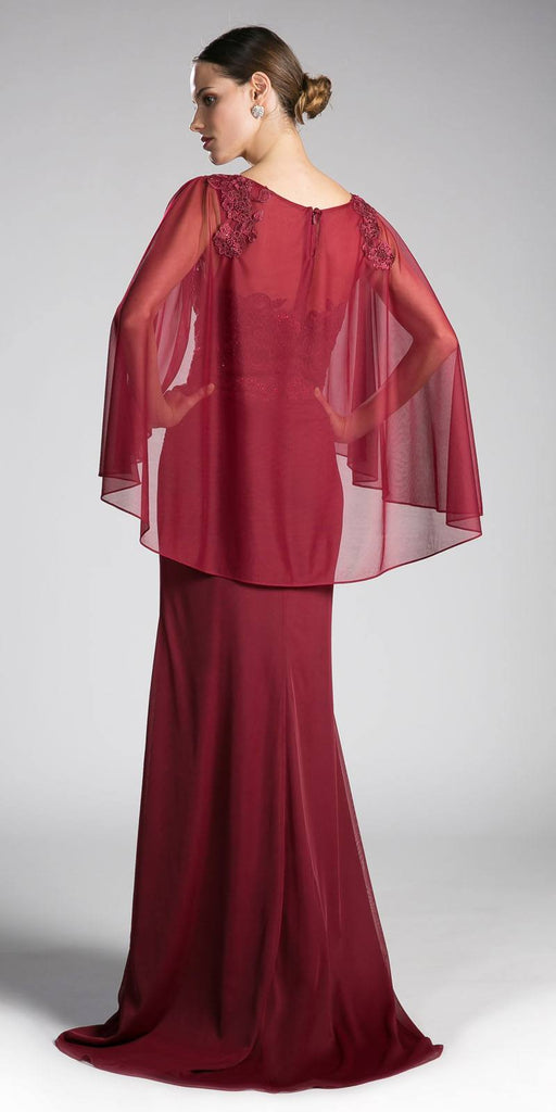 Burgundy Floor Length Formal Dress Appliqued with Poncho