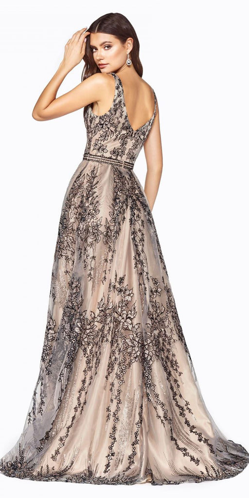 Bead Appliqued A-Line Long Prom Dress Champagne