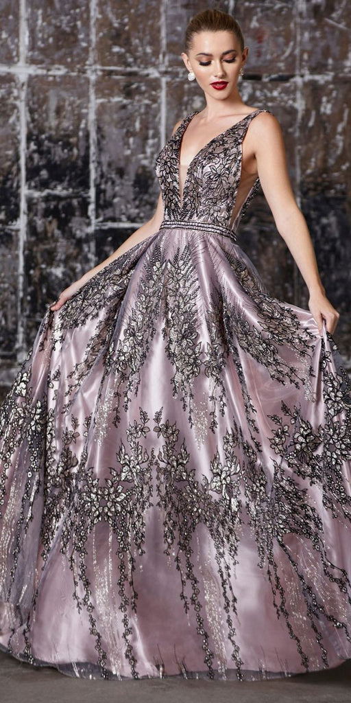 Bead Appliqued A-Line Long Prom Dress Mauve