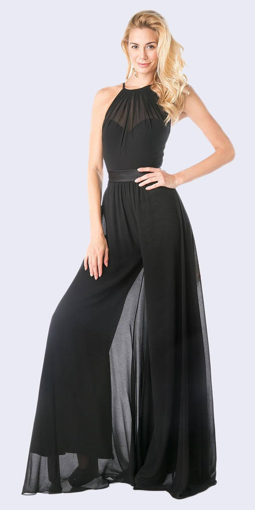 Halter Top Floor Length Jumpsuit Black Chiffon Overlay
