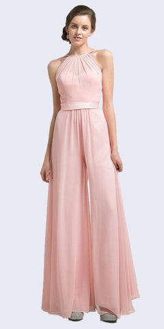 Halter Top Floor Length Jumpsuit Blush Chiffon Overlay