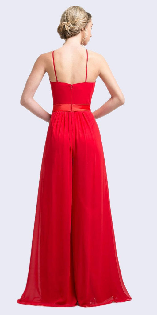 Halter Top Floor Length Jumpsuit Red Chiffon Overlay