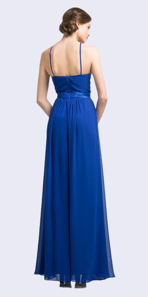 Halter Top Floor Length Jumpsuit Royal Blue Chiffon Overlay