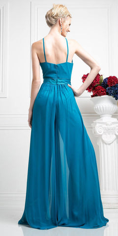 Halter Top Floor Length Jumpsuit Teal Chiffon Overlay