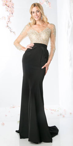 Black Long Prom Dress with Illusion Appliqued Bodice