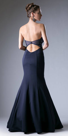 Cut Out Back Strapless Long Mermaid Prom Dress Navy Blue