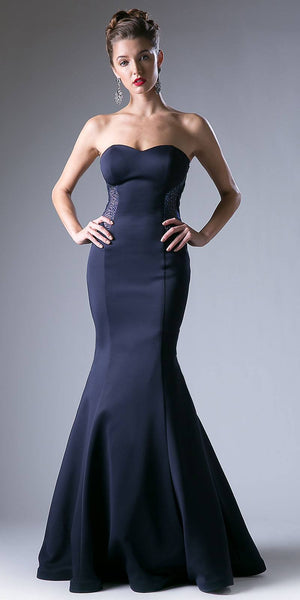 Cinderella Divine P201 Cut Out Back Strapless Long Mermaid Prom Dress Navy Blue