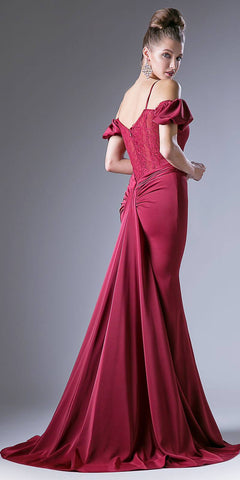 Burgundy Off Shoulder Mermaid Prom Gown Sweetheart Neck with Train