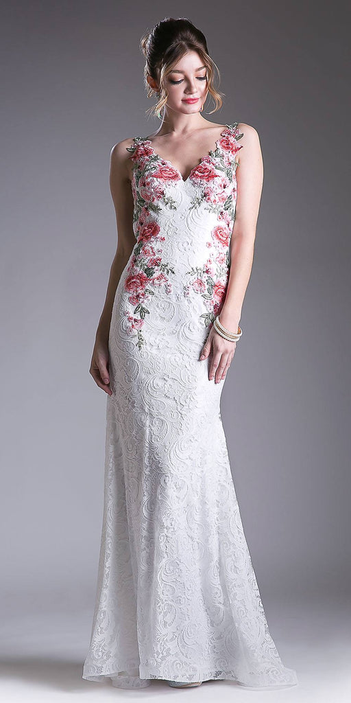 Lace Long Off White Formal Dress Embroidered