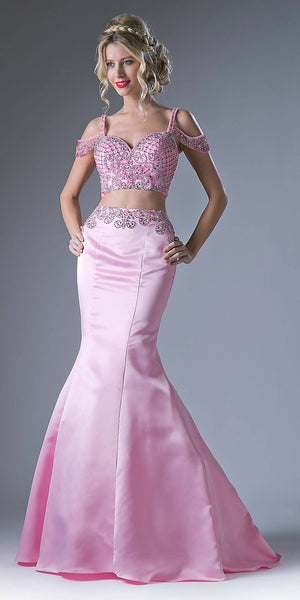 Two-Piece Long Prom Dress Beaded Crop Top Pink