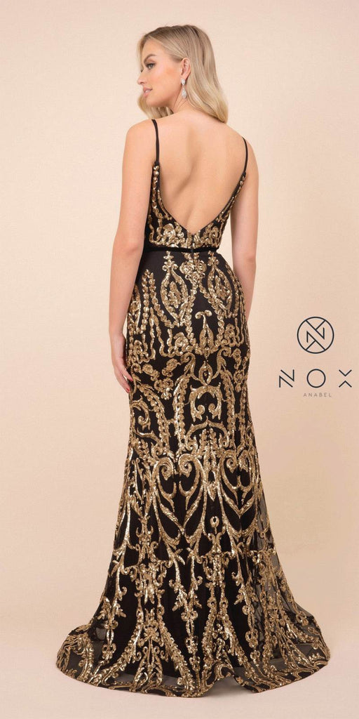 V-Neck Sequins Mermaid Long Prom Dress Black/Gold