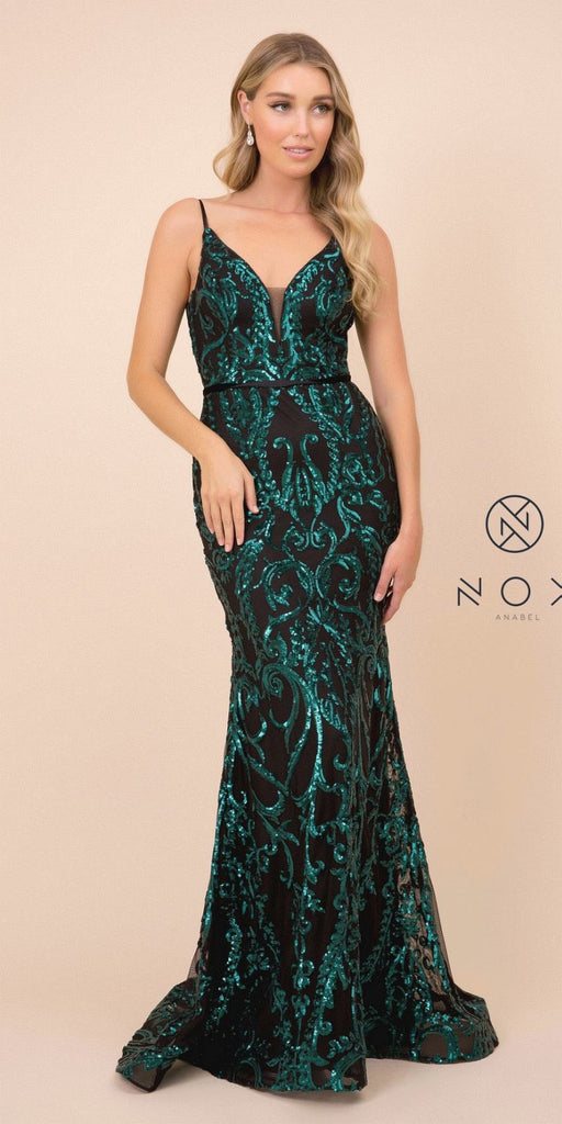 V-Neck Sequins Mermaid Long Prom Dress Black/Green