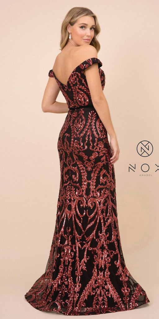 Black/Burgundy Off-Shoulder Sequins Long Prom Dress