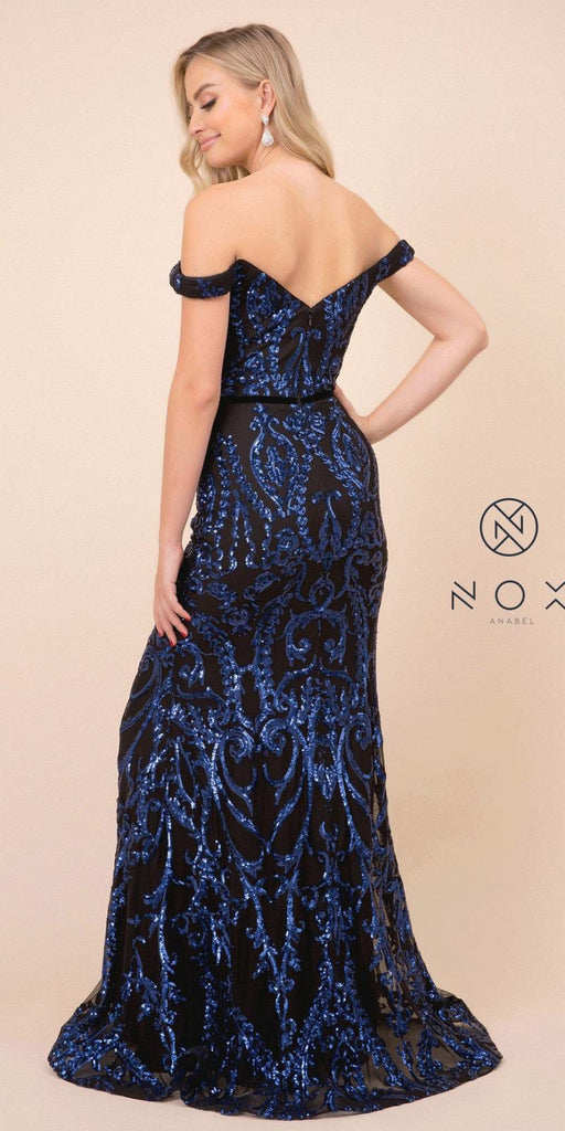 Black/Royal Blue Off-Shoulder Sequins Long Prom Dress