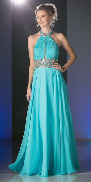 High-Neckline Backless Long Prom Dress Aqua