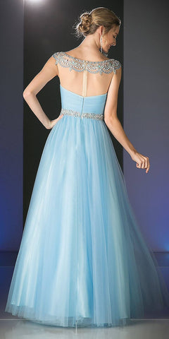 Bead Embellished Neckline Long Prom Dress Perry Blue