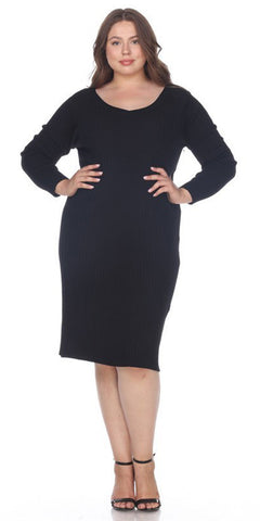Black Plus Size Knee-Length Casual Dress with Long Sleeves