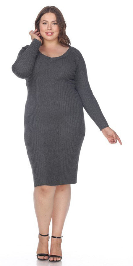 Charcoal Plus Size Knee-Length Casual Dress with Long Sleeves